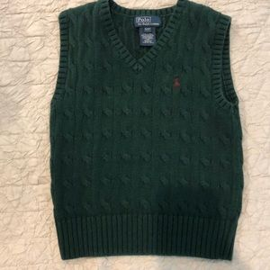Ralph Lauren Polo hunter green cable knit vest